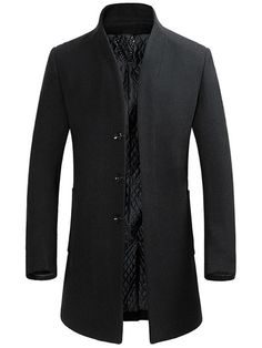 Ericdress Stand Collar Plain Slim Mens Wool Coats Latest Looks Shop Affordable & Stylish Dresses, Tops, Shorts & More! Round Collar Shirt, Collar Shirts, Business Casual Men, Men Casual, Mens Wool Coats, Mode Costume, Trench Coat Men, Men Coat, Types Of Sleeves