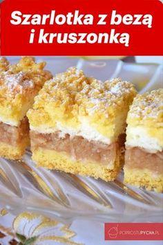 Szarlotka z bezą i kruszonką – Famous Last Words Dessert Cake Recipes, Mini Desserts, Cookie Desserts, No Bake Desserts, Cookie Recipes, Polish Desserts, Polish Recipes, White Chocolate Raspberry Scones, Slow Cooker Beef Curry
