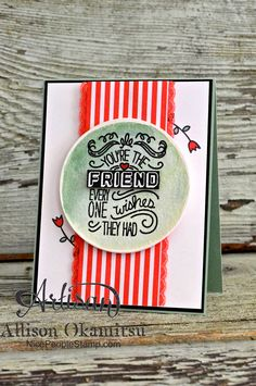 This NEW Stampin' Up! Stamp set, called Friendly Wishes, is one of many sneak peeks on my card for #tgifc02! - Allison Okamitsu