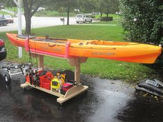 Hmmm on wheels, a way to get my fishing kayak on and off my car. If it were the right hight to just slide on and off.