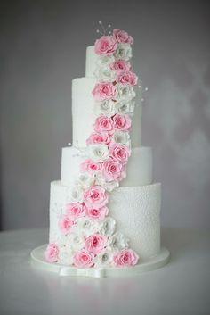 Beautiful edible rose cascade cake from { { FeedTitle} }{ { EntryUrl} } 5 Tier Wedding Cakes, Wedding Cake Maker, Ivory Wedding Cake, Luxury Wedding Cake, Floral Wedding Cakes, Amazing Wedding Cakes, Elegant Wedding Cakes, Wedding Cakes With Flowers, Wedding Cake Designs
