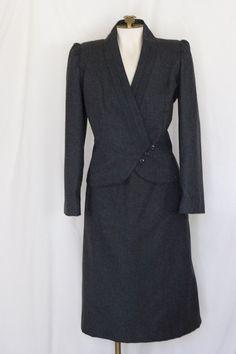 1980s grey skirt suit by David Benjamin SIZE 15-16 by TimeTravelFashions