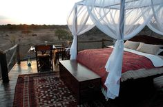 Chalkley Treehouse, Lion Sands, South Africa. The Chalkey Treehouse is built around a beautiful 500 year-old Leadwood Tree. Guests are driven out to the treehouse suite at dusk, given a picnic dinner and then left alone to soak up the evening sounds of the African bush. This is certainly a luxury treehouse and comes with its own toilet (yes, up in the canopy, so you don't have to brave the wildlife in the middle of the night), king bed and of course a mosquito net.