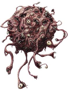 Gibbering Orb, a creature from Dungeons and Dragons role-playing game. Monster Drawing, Monster Art, Creature Concept Art, Creature Design, Fantasy Kunst, Dark Fantasy Art, Arte Horror, Horror Art, Eldritch Horror