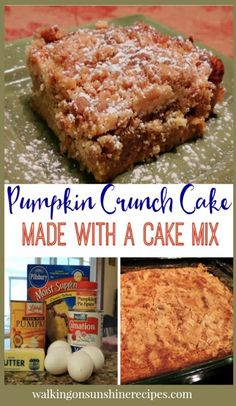 Pumpkin Crunch Cake is an easy recipe to make for your family that starts with a boxed cake mix from Walking on Sunshine Recipes. Pumpkin Crunch Cake, Pumpkin Cake Recipes, Dump Cake Recipes, Pumpkin Dump Cakes, Easy Pumpkin Cake, Spice Cake Mix And Pumpkin, Vegan Pumpkin, Boxed Cake Recipes, Easy Pumpkin Desserts