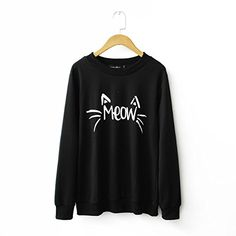 MIXMAX Women Cute Cat Face and Meow Letter Print Long Sleeve Sweatshirt Pullover(Medium, Cat black)- #fashion #Apparel find more at lowpricebooks.co - #fashion