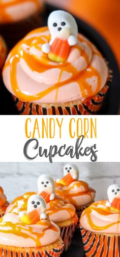 Delicious vanilla cupcakes topped with real candy corn frosting and then drizzled with a candy corn simple syrup. These candy corn cupcakes are the BEST! Halloween Themed Food, Halloween Baking, Halloween Desserts, Halloween Cakes, Halloween Treats, Halloween Party, Halloween Foods, Halloween Recipe, Easy Halloween