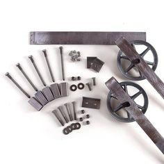 Heavy Duty Strap Black Rolling Barn Door Hardware Kit