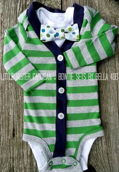 Little Boy's Cardigan without Bowtie - Grey/Green Striped Cardigan Only- Little Mister Onesie- Great for Photography Props. $25.20, via Etsy.