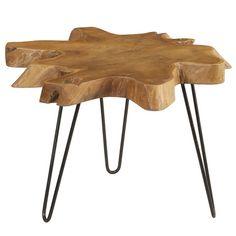Round Teak Slab Coffee Table with Metal Legs, Honey