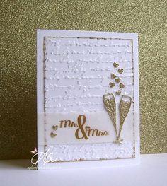 Mr & Mrs using Frantic Stamper Champagne Glasses FRA-DIE-09063 and Wedding Wishes Stamp Set FRA-CL-038