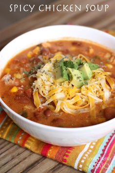 Spicy Chicken Soup from TastesBetterFromScratch.com--My favorite Fall soup--it's not spicy/hot, it just has a lot of spices and flavor! My whole family LOVES it!