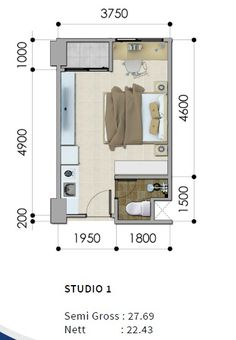 Need to add a shower Small Apartment Layout, Studio Apartment Floor Plans, Studio Floor Plans, Studio Apartment Layout, Small House Floor Plans, Apartment Plans, Apartment Design, Small Apartments, Micro Apartment