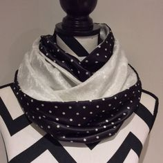 White and Black Infinity Scarf women's scarf loop by SissyandTodo