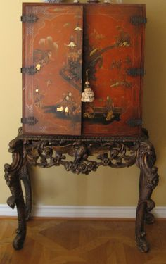 Red Chinoiserie Cabinet On Stand