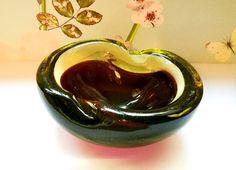 Murano glass figure eight geode bowl, Venetian glass, Cased glass, Murano Geode bowl, Amethyst cased in yellow glass, Mid century glass bowl