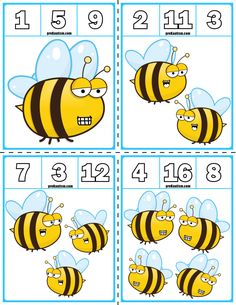 Teach counting skills with Spring Bees! Great for teaching counting skills and number recognition for numbers Quick prep game great for math centers! Body Preschool, Preschool Lessons, Toddler Preschool, Numbers Preschool, Bee Life Cycle, Bee Theme, Kindergarten Activities, Math Resources, Math Centers