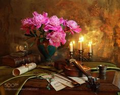 Still life with violin candle and flowers - 2