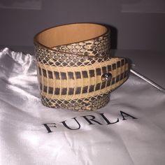 Furla snake skin leather bangle Earthy yet chic and fashionable snake skin leather bangle. Can be dressed up or down. Furla Jewelry Bracelets