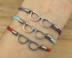 $1.99 Glasses bracelet, antique silver bracelet, rope bracelet, cute glasses and gift to your best friend