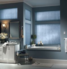 Garber's beautiful watercolor linen shades look gorgeous in bathrooms and other areas of the house.