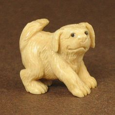 Mammoth Ivory Netsuke Cute Puppy Dog Carving Ojime Bead by rpmall, $55.00
