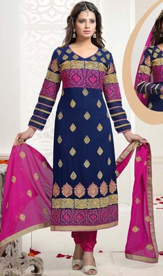 Embrace the beauty in you donning this blue color embroidered georgette Indian churidar suit. The ethnic lace, patch and resham work at the dress adds a sign of splendor statement to your look. #indiansalwarsuit #embroidereddress #partywear