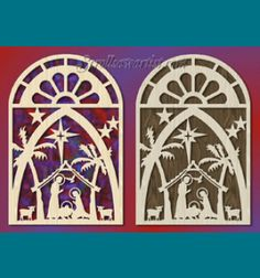 Scroll Saw Patterns :: Holidays :: Christmas :: Plaques  other projects :: Stained glass window - nativity -