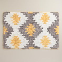 Yellow and Frost Gray Aztec Bath Mat | World Market