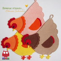 Crochet Kitchen, Crochet Home, Crab Stitch, Single Crochet Decrease, Crochet Chicken, Chicken Pattern, Crochet Bookmarks, Crochet Decoration, Crochet Potholders