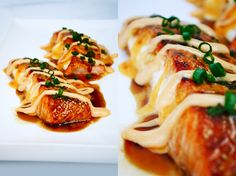 Stuffed Salmon with Sriacha Sauce