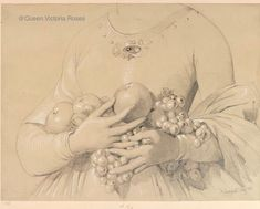 """Sketch by Princess Helena, titled """"A female torso with fruit"""" given to Queen Victoria for the birthday in Victoria's Children, Queen Victoria Children, 39th Birthday, Female Torso, Prince Albert, Sketch, Fruit, Princess, 18th Century"""