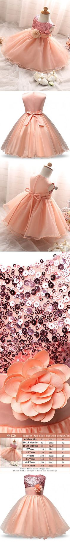 NNJXD Girl Flower Sequin Princess Tutu Tulle Baby Party Dress Size 19-24 Months Pink
