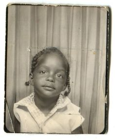** Vintage Photo Booth Picture ** Sweet little girl in braids
