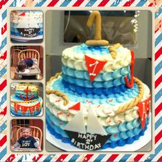 Blue Ombré Nautical Cake with Sailboat and Flags $125.00