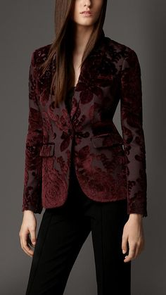 Velvet Jacquard Tailored Jacket | Burberry