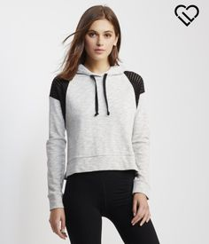 """LIVE LOVE DREAM After racking up miles on the track, trade in your running threads for our LLD Perf Cropped Hoodie! It's so soft, and the perforated insets add sporty flair.<br><br>Relaxed fit. Drawstring. Approx. length: 19""""<br>Style: 8998. Imported.<br><br>Body: 82% cotton, 18% polyester.<br>Shoulders: 68% polyester, 32% cotton.<br>Machine wash/dry.<br><br>Model info: Height: 5'10"""" 