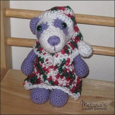 Precious Pandas Christmas Dress and Hat ~ this time Precious is all set for Christmas ~ she is getting quite the wardrobe, don't you think! ~ she is becoming a fashionista ~ this pattern is a beginner skill & like the other items in her wardrobe is a FREE CROCHET pattern