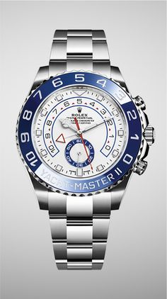 The Oyster Perpetual Yacht-Master II in 904L steel with a blue Cerachrom bezel, white dial and Oyster bracelet.