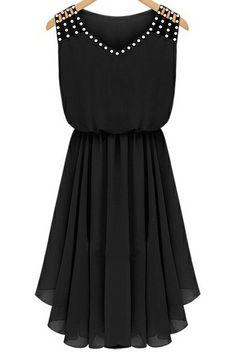 Black Sleeveless Rhinestone Hollow Pleated Chiffon Dress - Sheinside.com