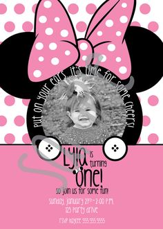 Adorable Minnie invite by YourDesignerTina on Etsy, $20.00