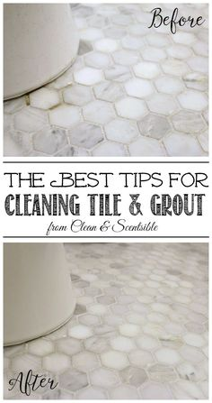 Check out these awesome tips & tricks on how to clean grout & tile. There are lots of different cleaning options so be sure to choose the best one for you! Deep Cleaning Tips, House Cleaning Tips, Diy Cleaning Products, Spring Cleaning, Cleaning Hacks, Green Cleaning, Diy Hacks, Cleaning Checklist, Cleaning Solutions
