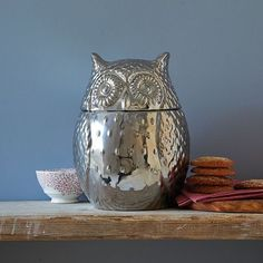 Awesome metallic owl cookie jar