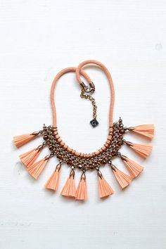 Apricot Raffia Tassel Necklace Statement Necklace Hand by gudbling