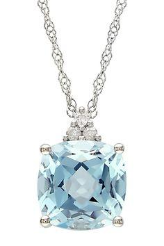 Sky Blue Topaz Diamond Pendant Necklace