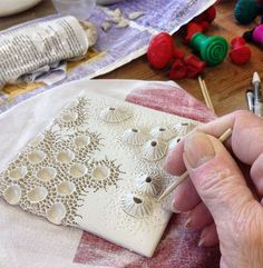 Having great fun at the moment making tiles. They're destined to be framed :D Porcelain wall art by Mairi Stone