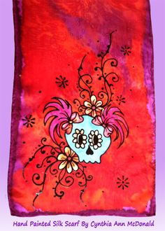 Hand Painted Silk Sugar Skull Scarf on Habotai Silk by Cynthia McDonald. I love Cute Sugar Skulls! This one is 8x54 inches, $38.00, now on sale at Etsy.com and Artfire.com, in our StarlitSkies shop, or visit our website. We love custom orders so if you have something in mind, CONTACT US!!!! TYSM!!!!