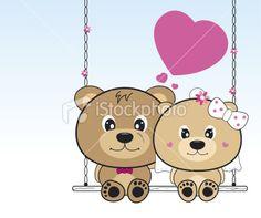 Wedding bears sitting on a swing Royalty Free Stock Vector Art Illustration