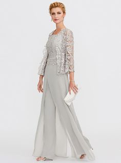 Pantsuit Straps Floor Length Chiffon / Corded Lace Mother of the Bride Dress wit… : Mother Of Groom Outfits, Mother Of The Bride Trouser Suits, Vestidos Mob, Casual Groom Attire, Wedding Pantsuit, Robes D'occasion, Mob Dresses, Mothers Dresses, Elegant Dresses
