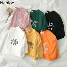 Neploe O Neck Short Sleeve Mutlicolor Summer Short Sleeve T Shirt Alien Pattern Design 6 Colors Cutton Tees 2020 New Shirt Loose Girls Fashion Clothes, Teen Fashion Outfits, Casual T Shirts, Cute Shirts, Clothing Photography, Cute Comfy Outfits, Crop Top Outfits, Custom Clothes, Aesthetic Clothes